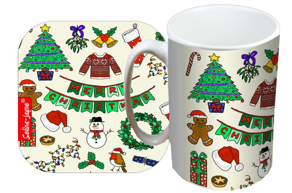 Selina-Jayne Merry Christmas Limited Edition Designer Mug and Coaster Set